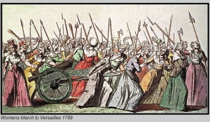 "The Women's March to Versailles, October 5-6, 1789. Because of poor harvests in 1788 and 1789, supplies of grain fell well short of their usual level, the price of bread rose dramatically in 1789. Always a likely cause of public disturbances, the high cost and limited supply of bread and other foodstuffs in 1789 was additional factor for the mobilization of the working poor in Paris and other cities during the early stages of the French Revolution. In October, food shortages in the popular markets of Paris fostered discontent and fear, prompting market women and women consumers to show their concern by marching on foot to Versailles and calling upon the king, Louis XVI, to exercise his paternal role by securing more food for the people of Paris. The belief that the king was ""the father of his people"" was a traditional notion that the monarchy cultivated also cultivate to strengthen popular loyalty to the king. As the women made their way to Versailles, some men joined to escort them, but the great mass of the marchers were women. At the Chateau of Versailles, the confrontation with the King's guards, reinforced by the National Guard under Lafayette, led to the deaths of several soldiers and possible some women. In the end, the women's call for the king to provision the Paris markets and ensure that this was done persuaded Louis to return to Paris. The king, queen, and their children never returned to Versailles. Resettled in the Tuilleries Palace in the center of Paris, the king was no longer at a safe distance from the politics and agitation in the capital but was on site and vulnerable. The documents that follow offer evidence about the women's march. The testimonies are interrogations of women who were charged with fomenting disorder; hence the interrogated usually express innocence and often denied having freely participated in the march. RS March 10, 2009"