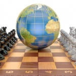 Global tactical and strategy concept, world globe with chess pieces. The source of the map - http://visibleearth.nasa.gov/view.php?id=57730
